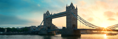 old bridge: Tower Bridge sunrise panorama over Thames River in London. Stock Photo