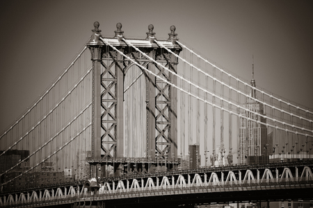 manhattan bridge: Manhattan Bridge closeup in New York City
