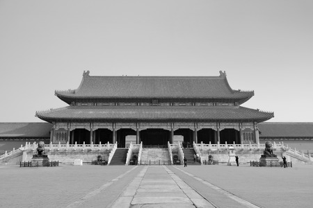 Forbidden City: Historical architecture in Forbidden City in Beijing, China in black and white.
