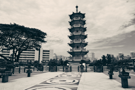 urban culture: Chinese Buddhism temple in Singapore Stock Photo