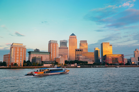 canary wharf: Canary Wharf business district in London at sunset.