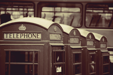telephone box: Telephone box in street with historical architecture in London in black and white.