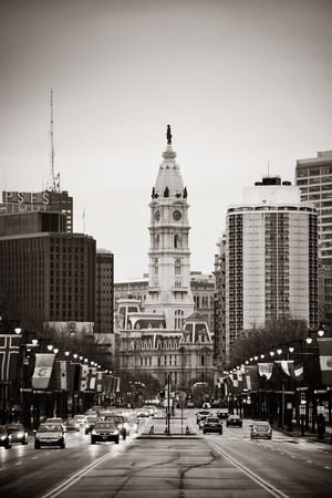 cityhall: PHILADELPHIA, PENNSYLVANIA - MAR 26: City street view with urban buildings on March 26, 2015 in Philadelphia. It is the largest city in Pennsylvania and the fifth in the United States.
