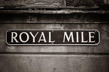mile: Royal Mile road sign in Edinburgh. Stock Photo