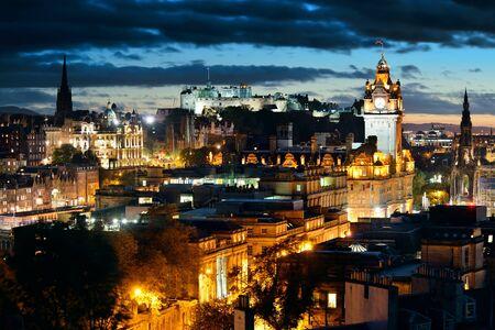 scott monument: Edinburgh city view at night in UK.