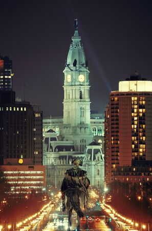 george washington: George Washington statue and City Hall at night in Philadelphia Stock Photo