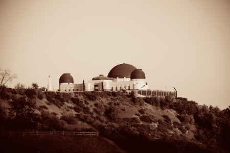 griffith: Griffith Observatory over mountain in BW in Los Angeles. Editorial