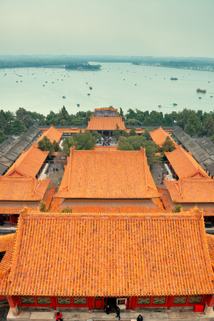 the summer palace: Summer Palace with historical architecture in Beijing.