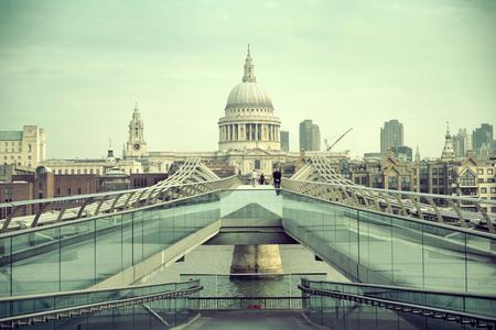 millennium bridge: St Pauls Cathedral and Millennium Bridge in London.
