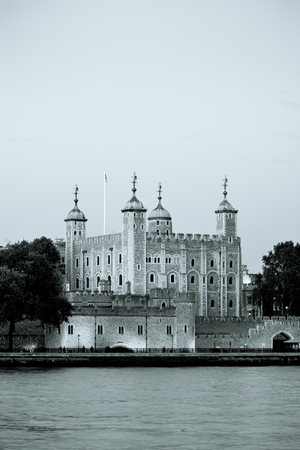 london tower: London tower at Thames River water front in black and white