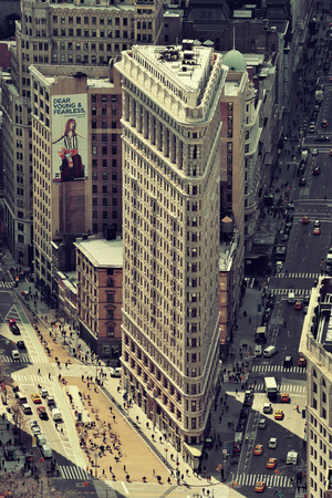 burnham: NEW YORK CITY, NY - MAR 30: Flatiron Building rooftop view on March 30, 2014 in New York City. Flatiron building designed by Chicagos Daniel Burnham was designated a New York City landmark in 1966. Editorial