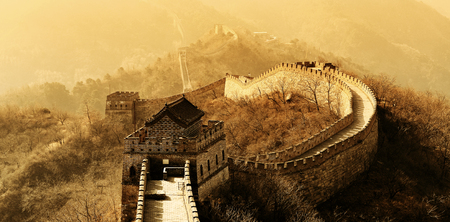 vintage landscape: Great Wall in old yellow tone in Beijing, China