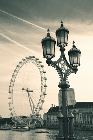 lamp post: Vintage lamp post on Westminster Bridge in London..