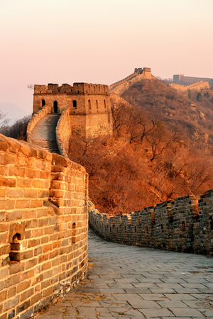 greatwall: Great Wall sunset over mountains in Beijing, China.