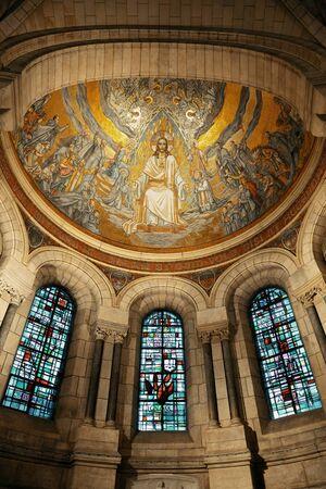 sacre: Sacre Coeur Cathedral interior in Paris, France.