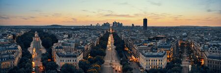 business district: Paris sunset rooftop view of the city skyline with la Defense business district in France. Stock Photo