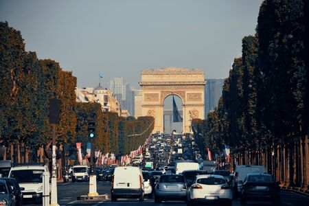 traffic building: Arc de Triomphe and street view in Paris.