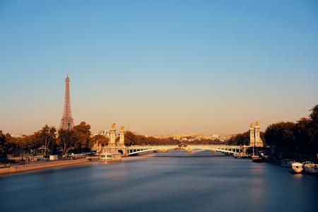 alexandre: Alexandre III bridge and Eiffel Tower in Paris, France. Stock Photo