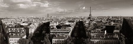 panoramic: Paris rooftop view skyline and Eiffel Tower panorama in France.