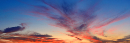 colourful sky: Colorful cloud in sky at sunset panorama Stock Photo