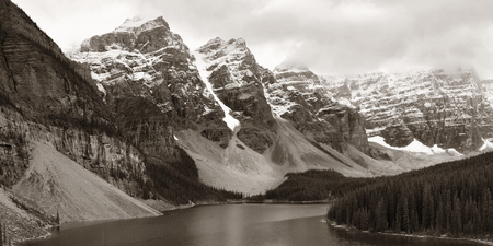 Moraine Lake with snow capped mountain of Banff National Park in Canada