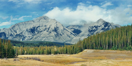 snow capped mountain: Landscape panorama of Banff National Park in Canada with snow capped mountain