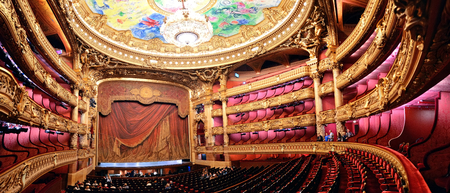 populous: PARIS, FRANCE - MAY 13: Palais Garnier interior view on May 13, 2015 in Paris. With the population of 2M, Paris is the capital and most-populous city of France