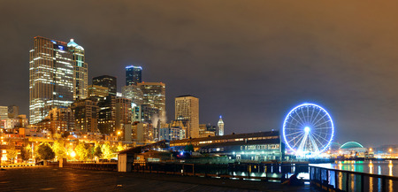 seattle: Seattle waterfront view with urban architecture at night