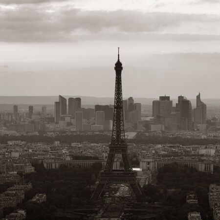 Paris city rooftop view with Eiffel Tower black and white.