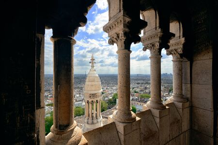 coeur: View from top of Sacre Coeur Cathedral and Eiffel Tower in Paris, France.