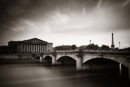 nationale: Paris River Seine and bridge with Assemblee Nationale Stock Photo