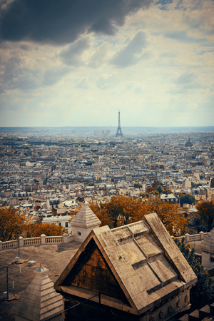 coeur: View from top of Sacre Coeur Cathedral with Eiffel Tower in Paris, France.