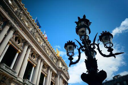 palais: Palais Garnier with vintage lamp viewed from street in Paris.