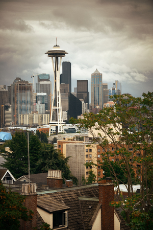 space needle: SEATTLE, WA - AUG 14: Space Needle and city downtown on August 14, 2015 in Seattle. Seattle is the largest city in both the State of Washington and the Pacific Northwest region of North America