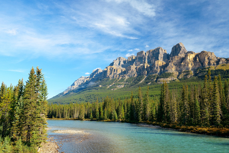 banff national park: Castle Mountain with creek in Banff National Park in Canada