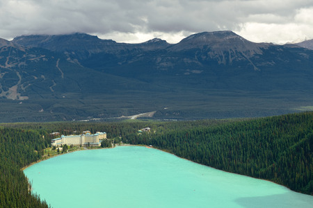banff national park: Banff national park view with mountains and forest in Canada. Stock Photo