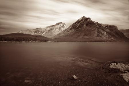banff national park: Lake Minnewanka with long exposure in Banff National Park