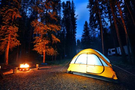 fogatas: Camping en el bosque con la luz de la tienda y hoguera en el Parque Nacional Banff