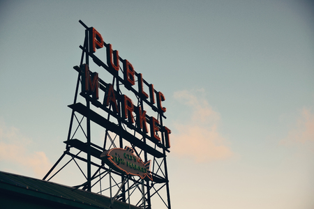 public market sign: SEATTLE, WA - AUG 14: Public Market sign in downtown on August 14, 2015 in Seattle. Seattle is the largest city in both the State of Washington and the Pacific Northwest region of North America Stock Photo