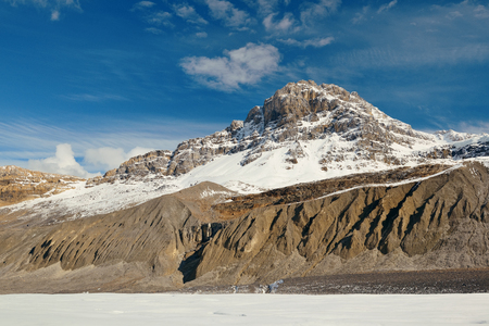 icefield: Columbia Icefield with snow covered mountains in Banff Jasper National Park, Canada.