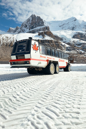 icefield: BANFF NATIONAL PARK, CANADA - SEPTEMBER 4: Columbia Icefield with Snow Coach on September 4, 2015 in Banff National Park, Canada. It is the largest ice field in the Rocky Mountains of North America.