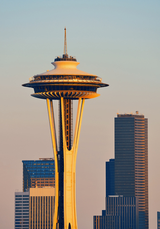 seattle: Seattle city skyline at sunset with urban office buildings viewed from Kerry Park. Stock Photo