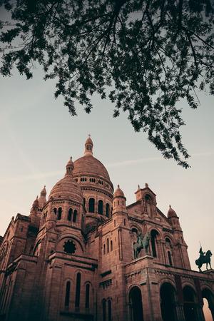 coeur: Sacre Coeur Cathedral closeup in Paris, France.