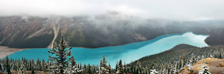banff national park: Peyto Lake panorama in winter with snow in Banff National Park, Canada