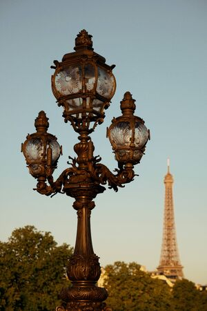 lamp post: Vintage lamp post and Eiffel Tower on Alexandre III bridge in Paris, France.