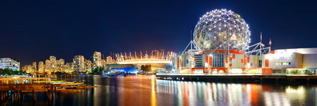 ethnically diverse: VANCOUVER, BC - AUG 17: Science World at night with boat on August 17, 2015 in Vancouver, Canada. With 603k population, it is one of the most ethnically diverse cities in Canada.