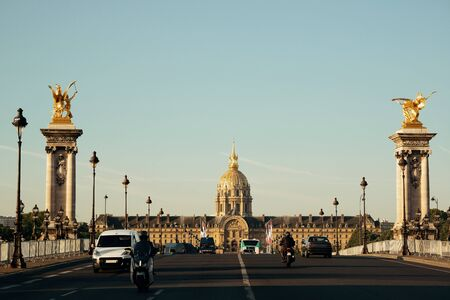 napoleon iii: Alexandre III bridge and Napoleans tomb in Paris, France.