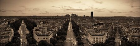 Paris rooftop view of the city skyline with la Defense business district in France. Stock Photo