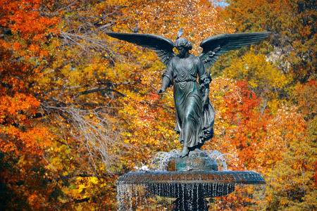 bethesda: Angel of water in Bethesda Terrace in Autumn in Central Park New York City