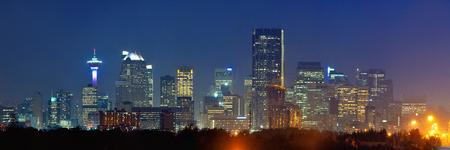 calgary: Calgary downtown panorama at night in Alberta, Canada.